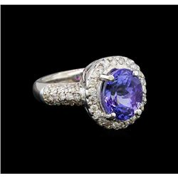 14KT White Gold 3.37 ctw Tanzanite and Diamond Ring