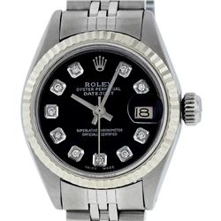 Rolex Ladies Stainless Steel Black Diamond 26MM Datejust Wristwatch