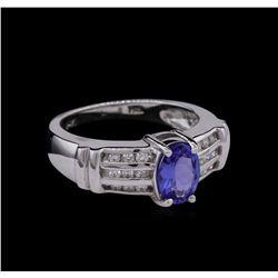 0.67 ctw Tanzanite and Diamond Ring - 14KT White Gold