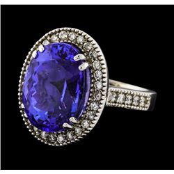 GIA Cert 15.48 ctw Tanzanite and Diamond Ring - 14KT White Gold
