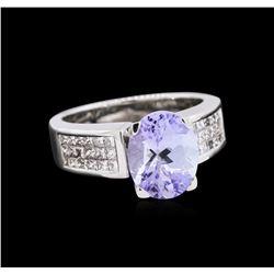 3.25 ctw Tanzanite and Diamond Ring - 18KT White Gold