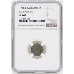 1776B Germany Kreuzer Regensburg Coin NGC MS63