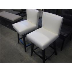 CREAM SWIVLE STOOLS WITH CHROME ACCENTS