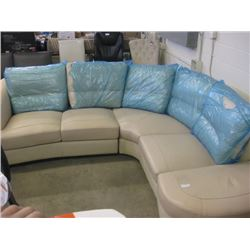 5 SEATER LEATHER CURVED CORNER COUCH