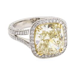 6.02 ctw Fancy Intense Yellow Diamond and White Diamond Ring - Platinum
