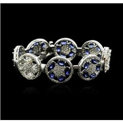 14KT White Gold 21.00 ctw Sapphire and Diamond Bracelet