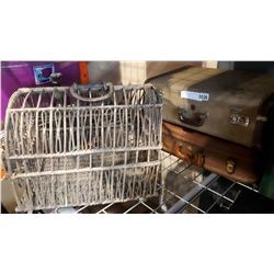 2 VINTAGE MC BRINE SUITCASES AND WICKER CAGE