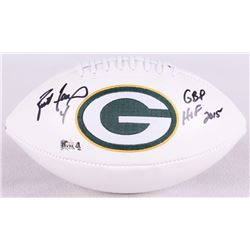 """Brett Favre Signed Packers Logo Football Inscribed """"GBP HOF 2015"""" (Favre Hologram)"""