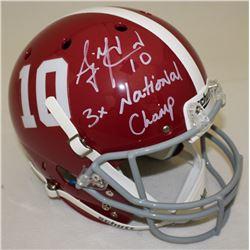 "AJ McCarron Signed Alabama Crimson Tide Full-Size Helmet Inscribed ""3x National Champ"" (Radtke COA)"