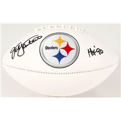 Jack Lambert Signed Steelers Logo Football Inscribed  HOF 90  (Radtke COA)