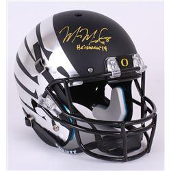 "Marcus Mariota Signed Oregon Ducks Custom Matte Black Full-Size Helmet Inscribed ""Heisman '14"" (Mari"