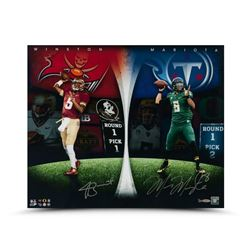 Jameis Winston  Marcus Mariota Dual-Signed  Draft Board Leaders  24x20 Photo LE 25 (UDA COA)