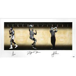 "Muhammad Ali, Michael Jordan  Tiger Woods Signed ""Legends of Sport"" LE 25x49 Photo (UDA COA)"