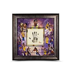 Magic Johnson Signed Lakers LE 36x36 Custom Framed Tegata Display Inscribed  HOF 02  (UDA COA)