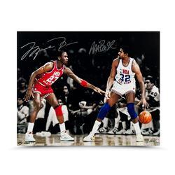 "Michael Jordan  Magic Johnson Signed ""1987 All-Star Match Up"" LE 16x20 Photo (UDA COA)"
