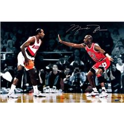 "Michael Jordan Signed Bulls ""Jordan vs Drexler"" 16x24 Photo (UDA COA)"