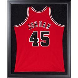 Michael Jordan Signed Bulls 32x44 Custom Framed  Mitchell  Ness Jersey Display (UDA COA)