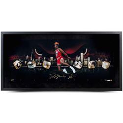 "Michael Jordan Signed Bulls ""City Of Rings"" LE 15x30 Custom Framed Photo (UDA COA)"