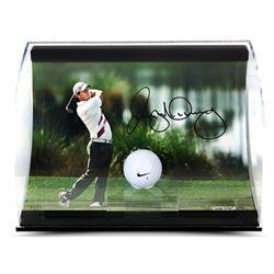 "Rory McIlroy Signed ""Holding the Finish"" 11x7x5 Range Driven Golf Ball Curve Display (UDA COA)"