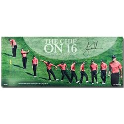 """Tiger Woods Signed """"Chip at 16"""" 15x36 Photograph (UDA COA)"""