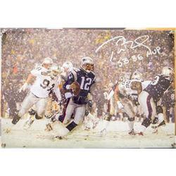 "Tom Brady Signed Limited Edition Patriots 16x20 Diebond Plexiglass Photo Display Inscribed ""SB 36 MV"