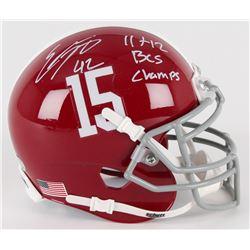 "Eddie Lacy Signed Alabama Crimson Tide Mini-Helmet Inscribed ""11 + 12 BCS Champs"" (Lacy Hologram)"