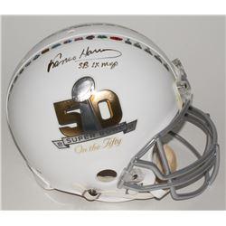 "Franco Harris Signed LE Super Bowl 50 Full-Size Authentic Pro-Line Helmet Inscribed ""SB IX MVP"" (Ste"