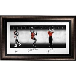 """Muhammad Ali, Michael Jordan  Tiger Woods Signed """"Legends of Sport"""" LE 33x58 Custom Framed Photo (UD"""