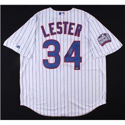 """Jon Lester Signed Cubs """"2016 World Series"""" Jersey (Schwartz COA)"""
