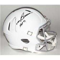 "Jim Brown Signed Browns Custom Matte White Full-Size Speed Ice Helmet Inscribed ""HOF 71"" (Fanatics H"