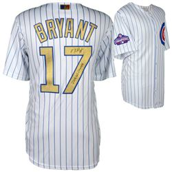 """Kris Bryant Signed Cubs Majestic Authentic 2016 World Series Gold Jersey Inscribed """"2016 WS Champs"""""""