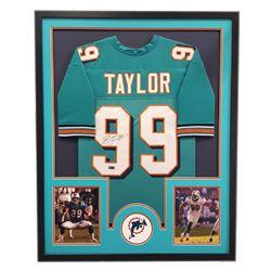 "Jason Taylor Signed Dolphins 34"" x 42"" Custom Framed Jersey (Radtke COA)"