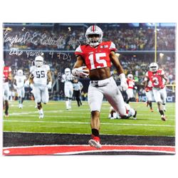"Ezekiel Elliott Signed Ohio State Buckeyes 29.5"" x 22.5"" Giclee on Canvas Inscribed ""246 Yards"" ""4 T"