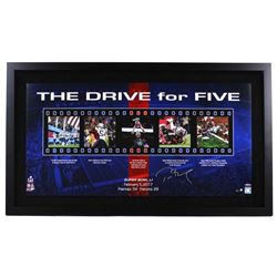 """Tom Brady Signed Patriots LE """"The Drive For Five"""" 24x41 Custom Framed Photo Collage (Steiner COA)"""