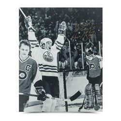"Wayne Gretzky Signed Oilers 16x20 Photo Inscribed ""50 goals 39 games"" (UDA COA)"