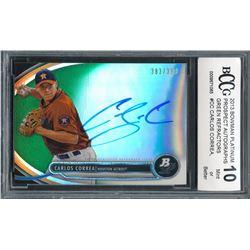 2013 Bowman Platinum Prospect Autographs Green Refractors #CC Carlos Correa #383/399 (BCCG 10)