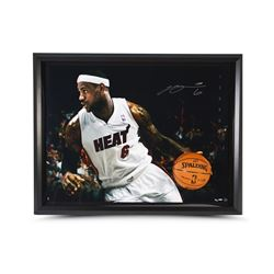 89266ebc4763 LeBron James Signed Heat 35x47 Custom Framed Limited Edition Photo (UDA COA)
