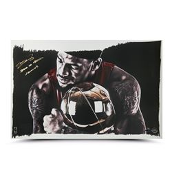 """LeBron James Signed """"Magic Moment"""" 12x24 Limited Edition Print Inscribed """"Back To Back Champs"""" (UDA"""