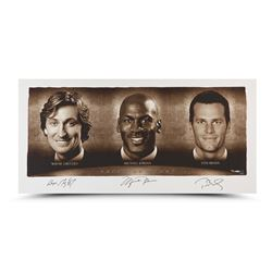 "Wayne Gretzky, Michael Jordan  Tom Brady Signed ""Faces of Sports"" 24x48 Limited Edition Photo (UDA C"