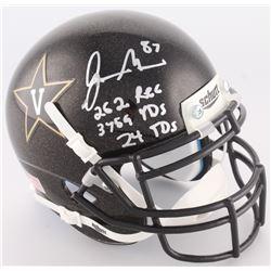 """Jordan Matthews Signed Vanderbilt Mini-Helmet Inscribed """"262 Rec"""", """"3759 YDS""""  """"24 TDS"""" (Radke COA)"""