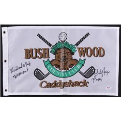 "Michael O'Keefe  Cindy Morgan Signed ""Bush Wood Country Club"" Caddyshack Golf Pin Flag Inscribed ""La"