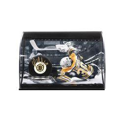 Tim Thomas Signed Bruins Logo Hockey Puck Curve Display (UDA COA)