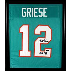 "Bob Greise Signed Dolphins 23x27 Custom Framed Jersey Display Inscribed ""HOF '90"" (Radtke COA)"