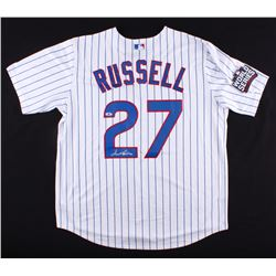 Addison Russell Signed Chicago Cubs White Pinstripe 2016 World Series Patch Majestic Jersey (Beckett