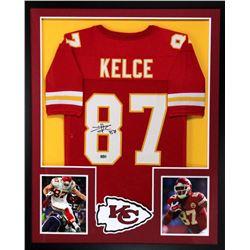 Travis Kelce Signed Chiefs 34x42 Custom Framed Jersey (Radtke COA)