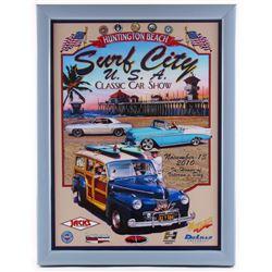 "Jim Krogle Signed AP ""Huntington Beach Surf City U.S.A Classic Car Show"" 20.25x26.25 Custom Framed L"