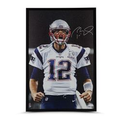 "Tom Brady Signed Patriots ""Up Close"" 24x36 Custom Framed Photo on Canvas (UDA COA)"