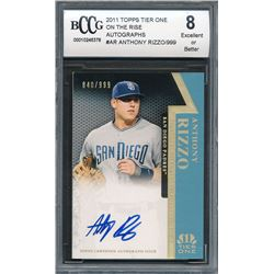 2011 Topps Tier One On The Rise Autographs #AR Anthony Rizzo #840/999 (BCCG 8)