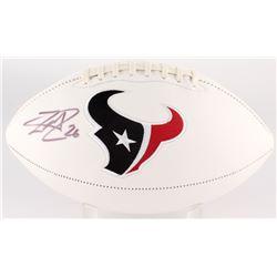 Lamar Miller Signed Texans Logo Football (JSA COA)