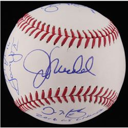"Baseball Signed by (7) With Joe Maddon, Dave Martinez, John Mallee, Gary Jones Inscibed ""2016 WS Cha"